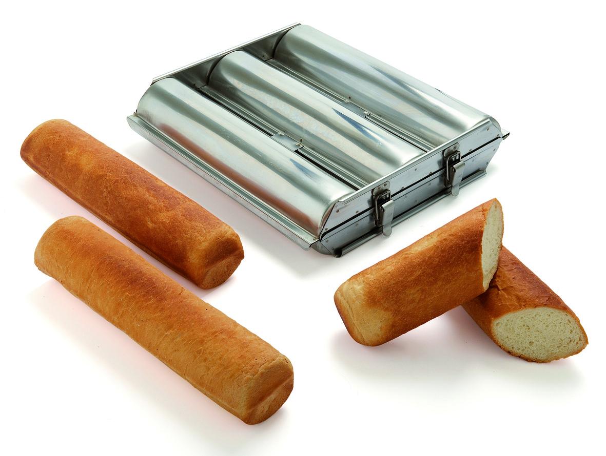 triple moule inox petit toast ou pain de mie rond 4 5. Black Bedroom Furniture Sets. Home Design Ideas