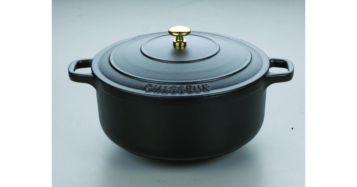 Cocotte ronde noire en fonte maill e avec couvercle le - Cocotte ronde en fonte ...