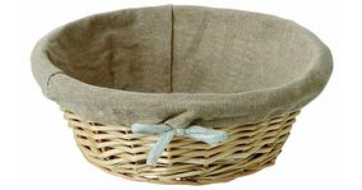 Corbeille pain ronde en osier avec housse en tissu 29 for Table ronde en osier