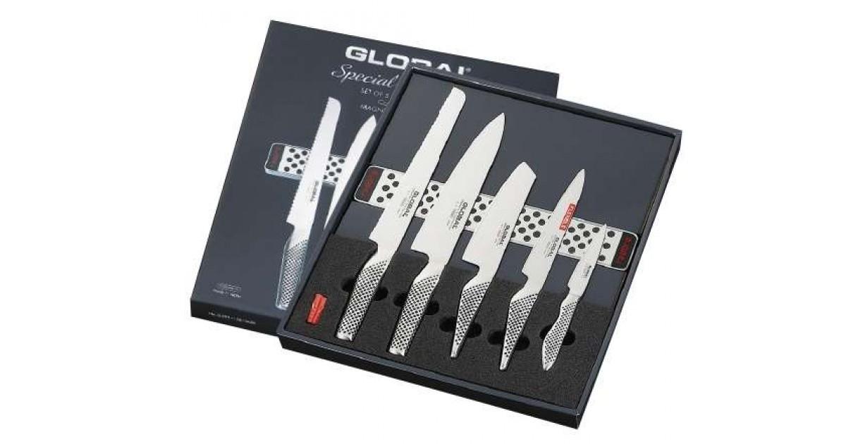 set de 4 couteaux global avec barre magn tique global. Black Bedroom Furniture Sets. Home Design Ideas