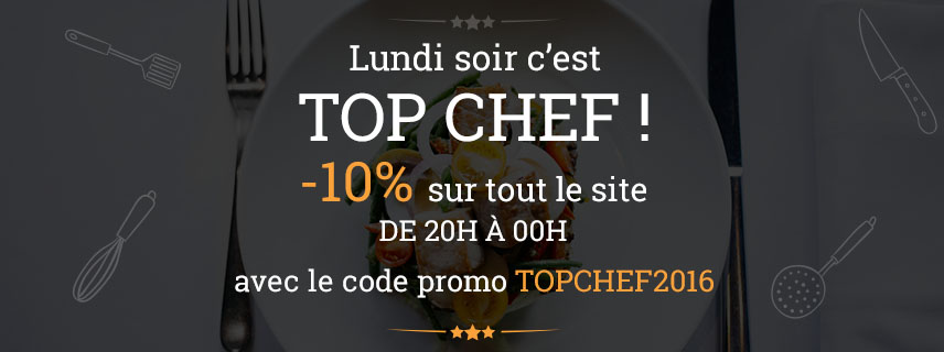 lundi soir c 39 est top chef code promo sp cial. Black Bedroom Furniture Sets. Home Design Ideas